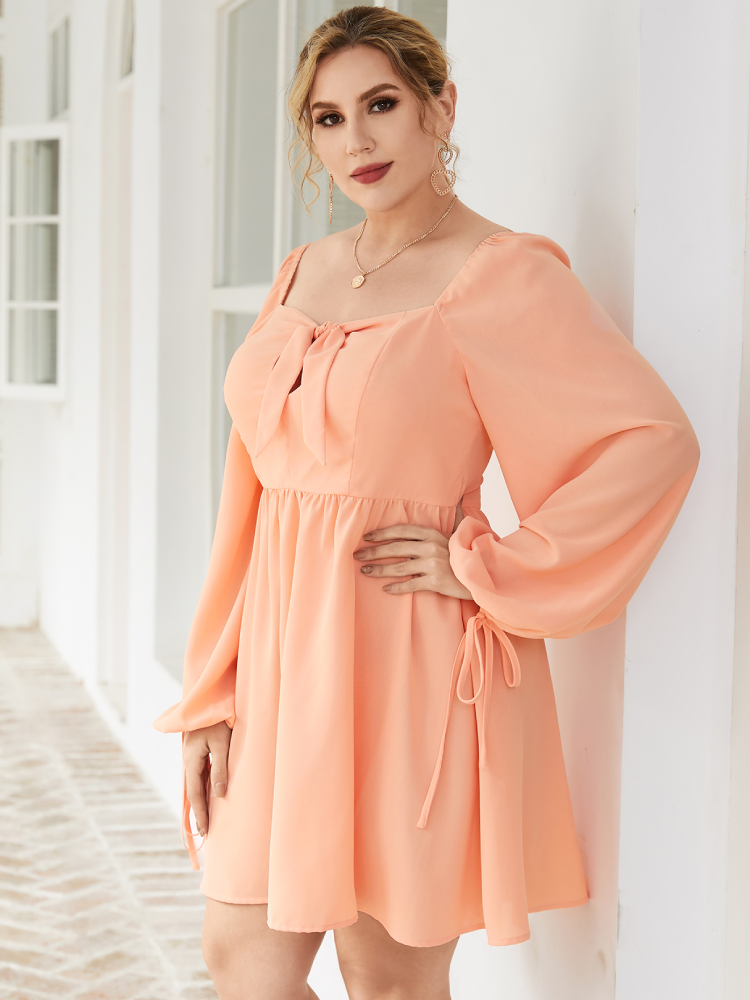 Solid Color Bowknot Square Collar Plus Size Casual Dress
