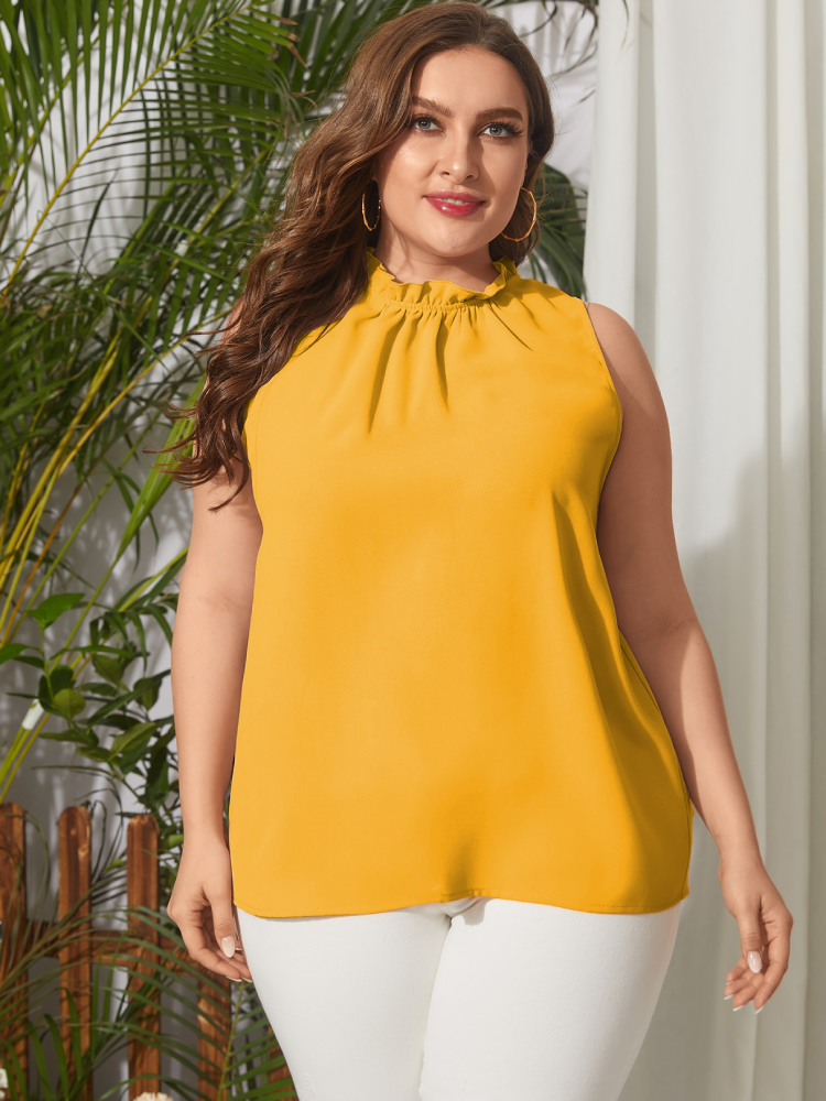 Solid Color Sleeveless Ruffle Collar Plus Size Tank Top