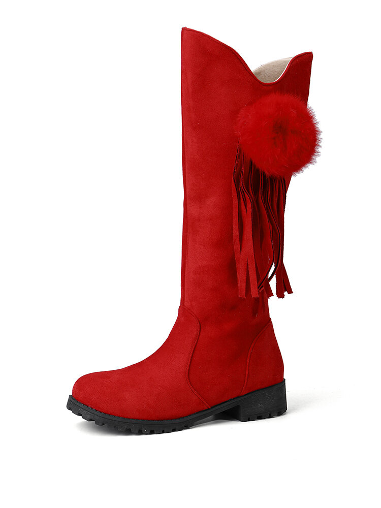 Women Suede Casual Pompom Tassel Decoration Chunky Heel Mid-Calf Cowboy Boots