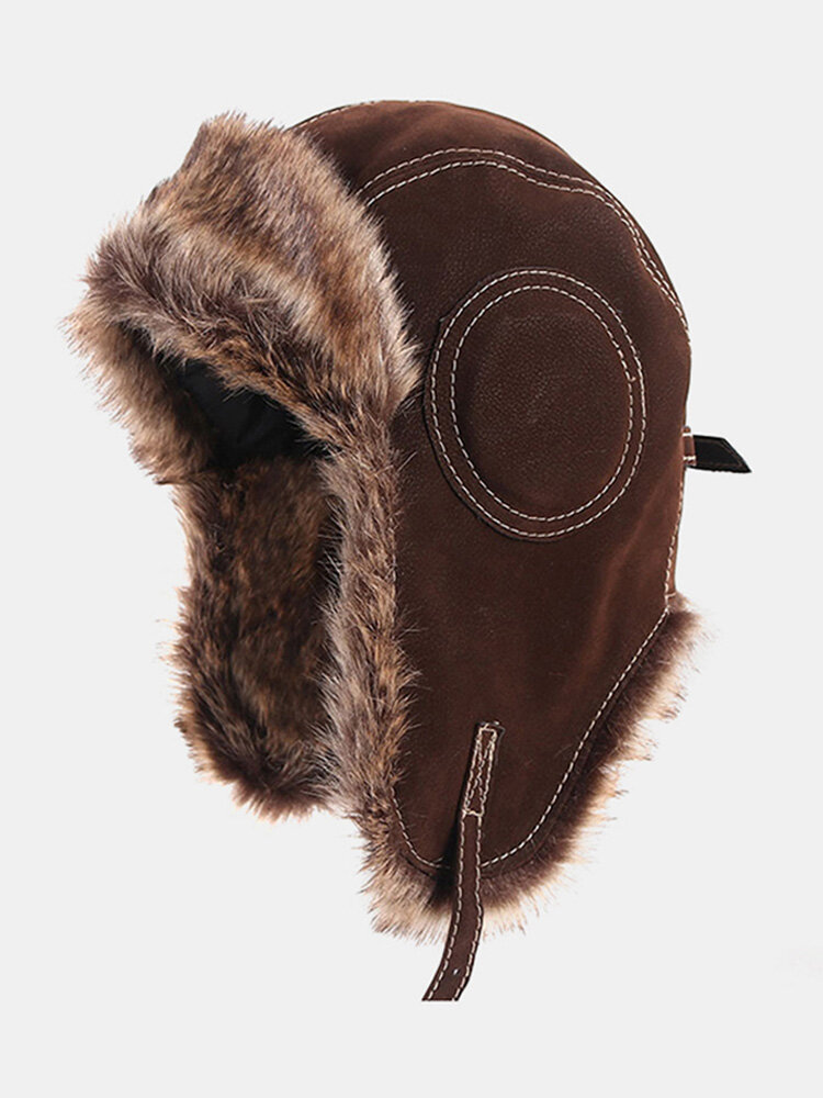 Men Faux Leather Cold-proof Winter Trapper Hat Thick Winter Hat Ear Protection Trapper Hat