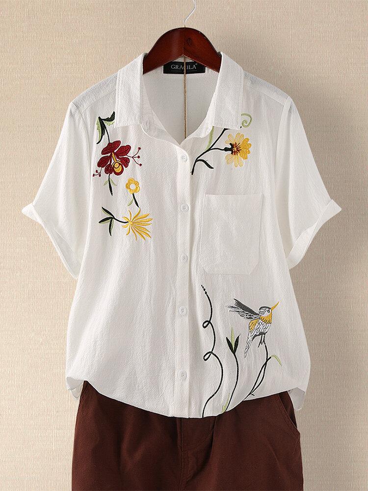 Vintage Stickerei Blumen Kurzarm Casual Button Bluse