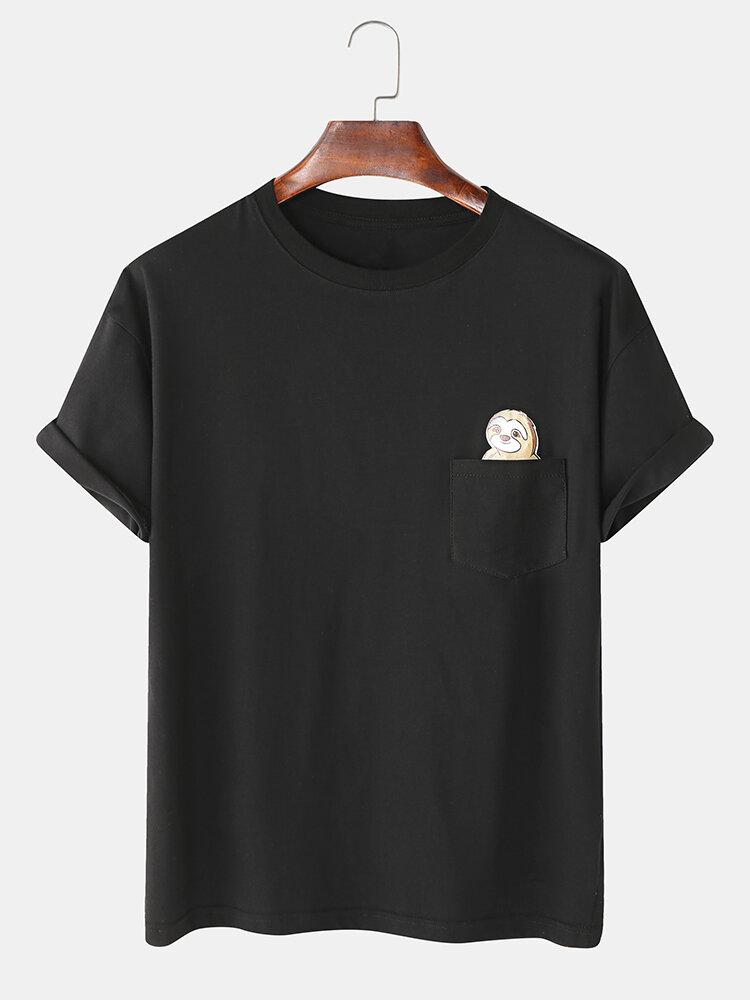Mens Cotton Cartoon Animal Print Chest Pocket Casual Loose O-Neck T-Shirts