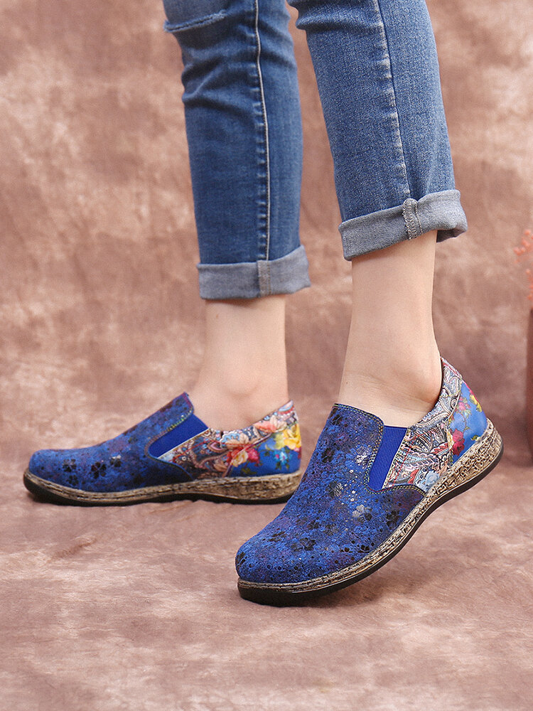 Socofy Retro Floral Print Splicing Flats Elastic Band Soft Slip On Loafers Shoes