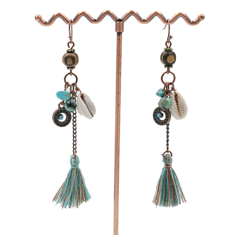 Women's Bohemian Earrings Wood Shell Turquoise Tassel Earrings