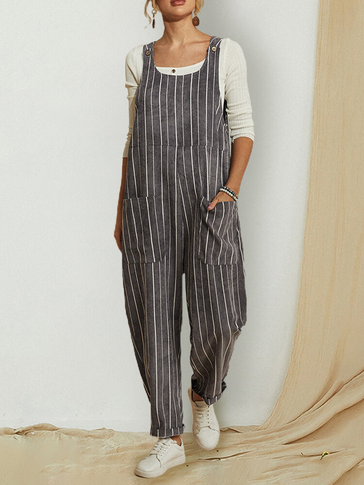 Striped Sleeveless Loose Corduroy Jumpsuit With Pocket