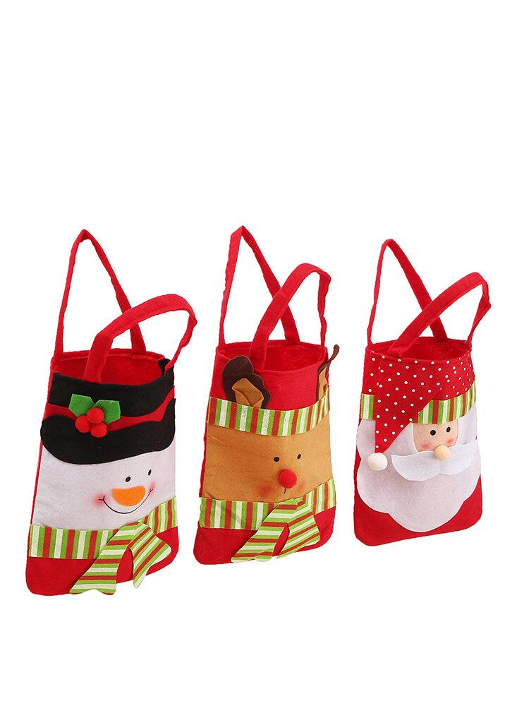 Christmas Stocking Sack Sock Santa Claus Snowman Elk Gift Bag Xmas Party Decor