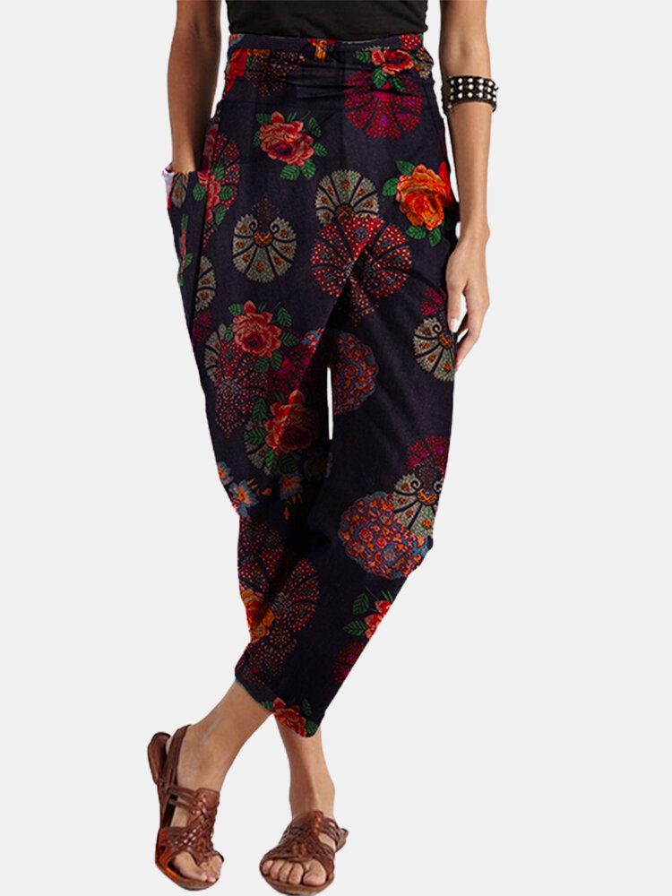 Flowers Print Wrap Plus Size Harem Pants with Belt