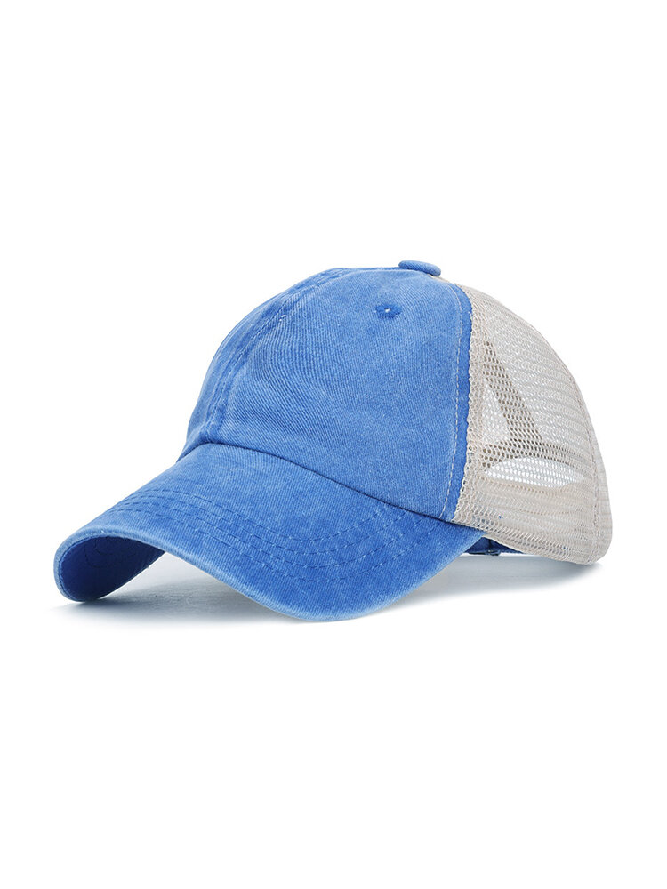 Women Man Washed Cloth Color Baseball Cap Solid Color Breathable Retro Sun Hat