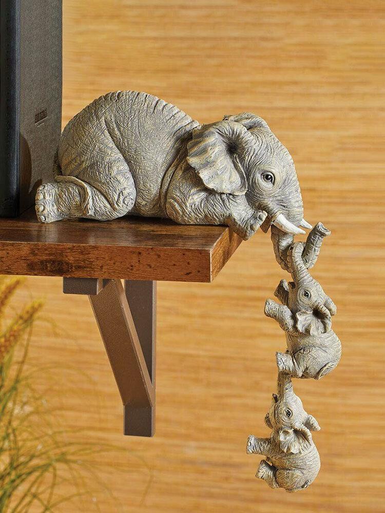 3 PCS A Set Three Piece Elephant Hanging Baby Elephant Resin Handicraft Handmade Home Decor