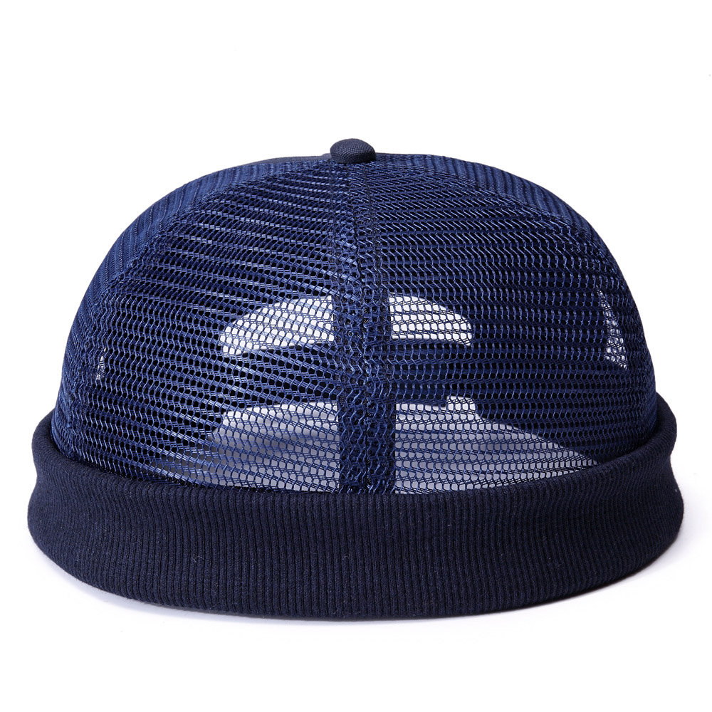 Men Mesh Cotton Beanie Cap Retro Circular Adjustable Breathable Melon hat