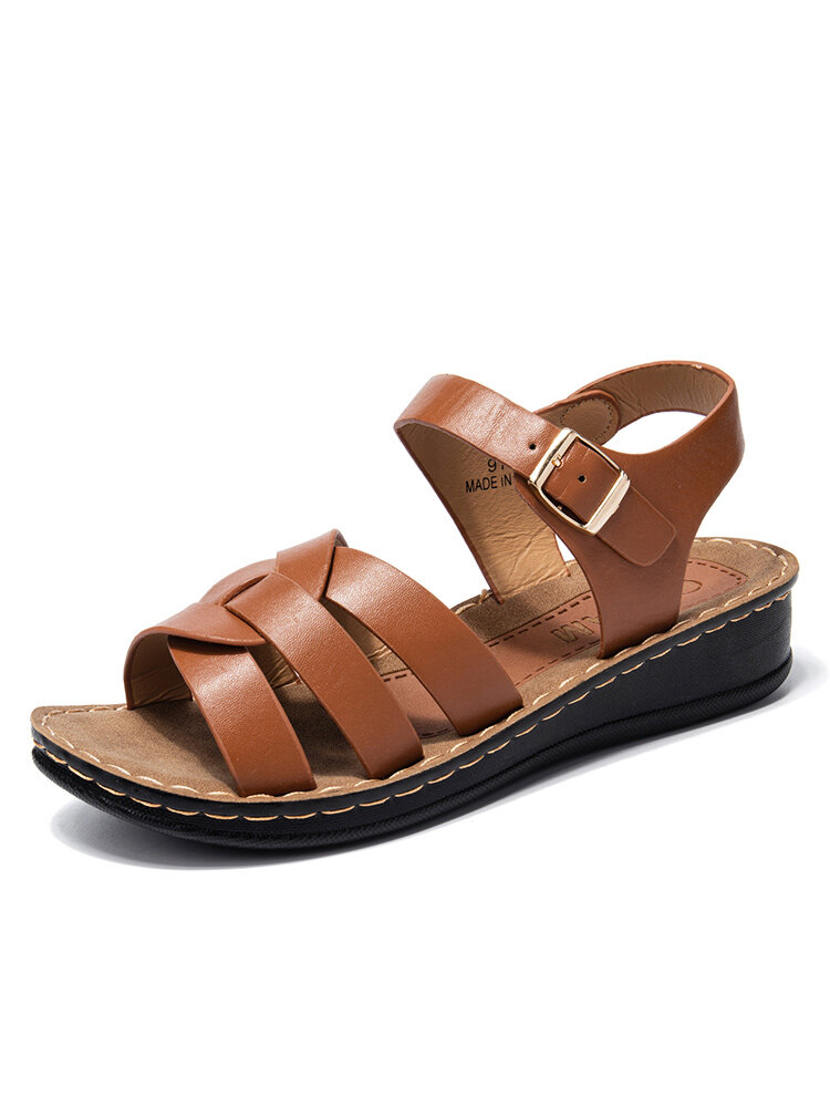 Image of Women Lightweight Cross Strap Buckle Strap Casual Sandals