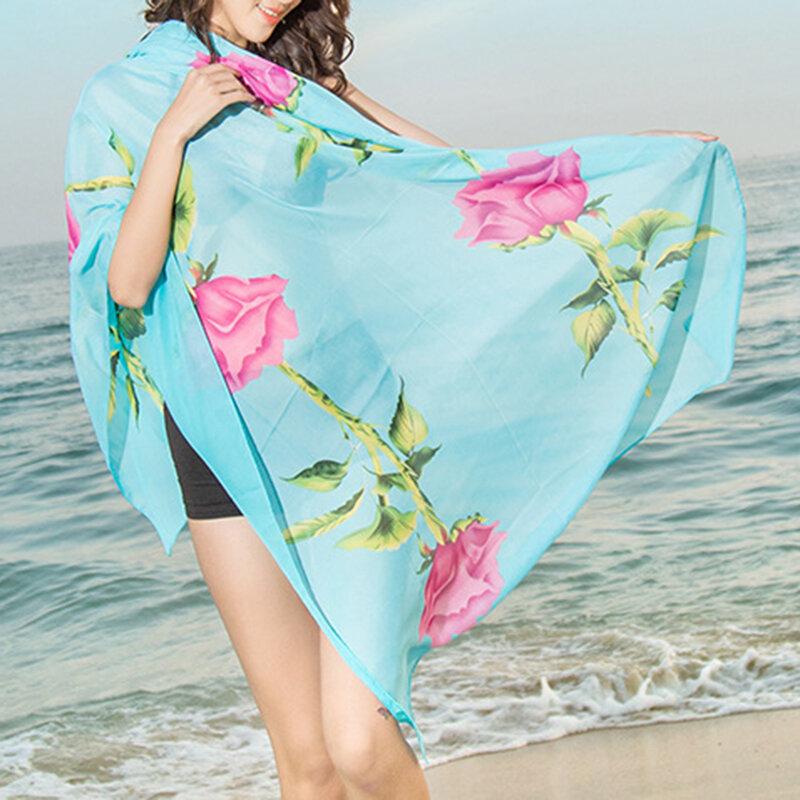 المرأة الشيفون طويلة Soft وشاح عارضة رقيقة شال الأوشحة متعددة الوظائف في الهواء الطلق شاطئ الأوشحة