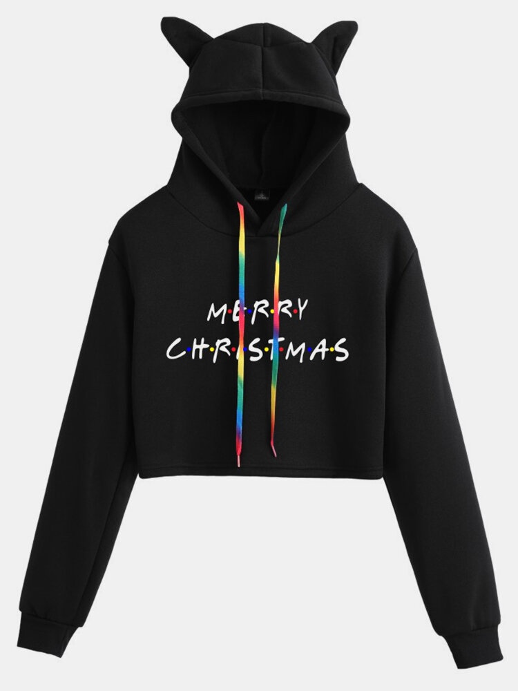 Christmas Letters Print Long Sleeve Casual Hoodie For Women