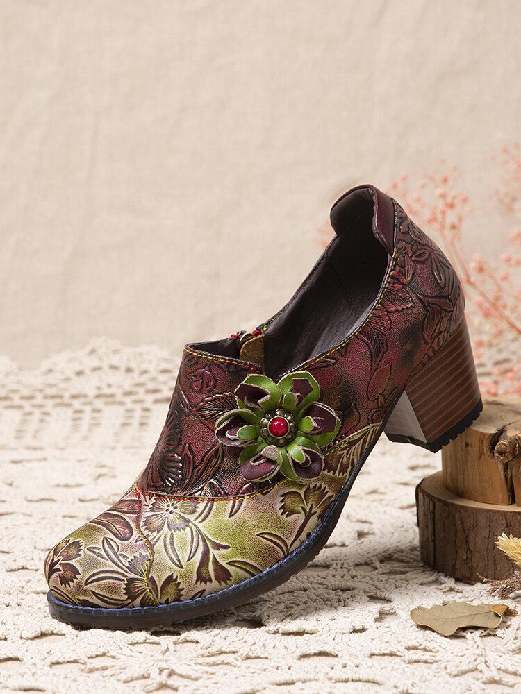 SOCOFY Retro bedruckte geprägte Lederblumen Dekor Seite Reißverschluss Bequem tragbar Damen Chunky Heels Pumps
