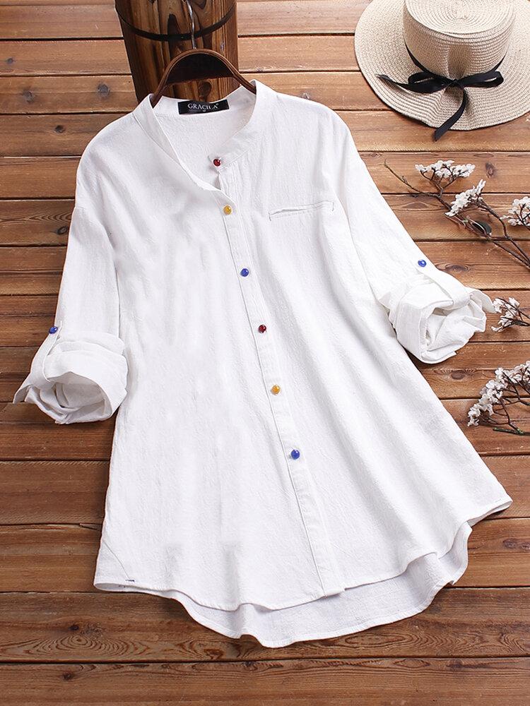 Vintage einfarbige Knopf lässige Bluse für Damen