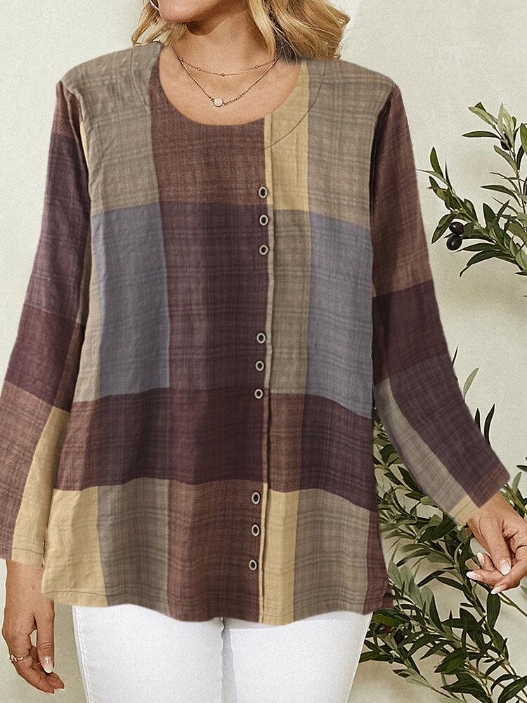Contrast Color Plaid Print Button Long Sleeve Casual Blouse for Women