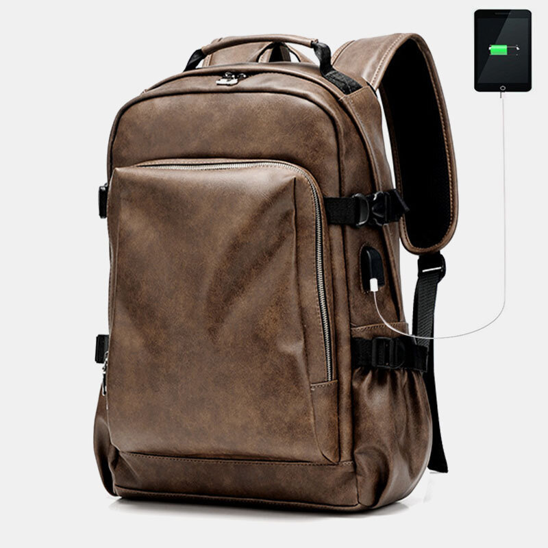 Men Vintage Old USB Charging Large Capacity 15.6 Inch Laptop Bag Backpack