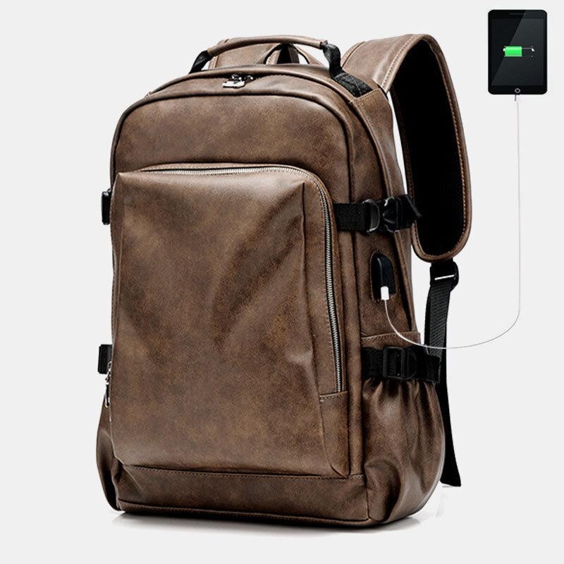 Мужчины Винтаж Старый USB-зарядка большой емкости 15,6 дюймов Ноутбук Сумка Рюкзак