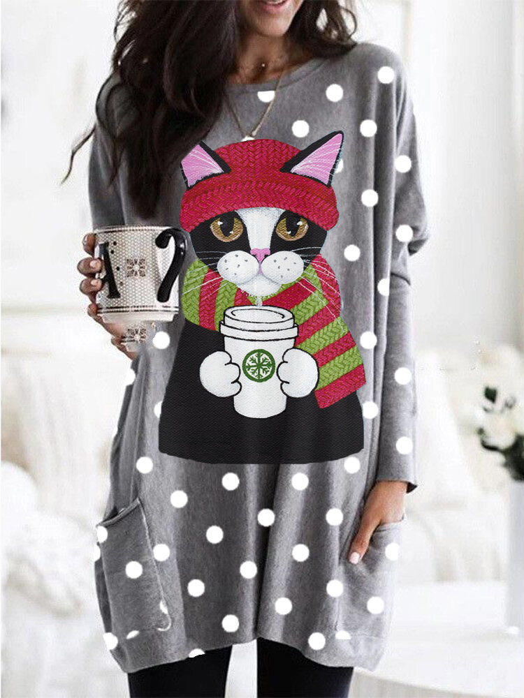 Lovely Cat Print O-neck Long Sleeve Blouse with Pocket