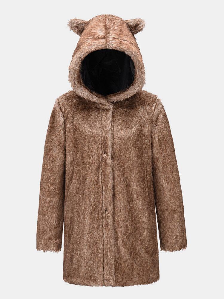 女性のためのフェイクファー無地耳フード付き長袖コート