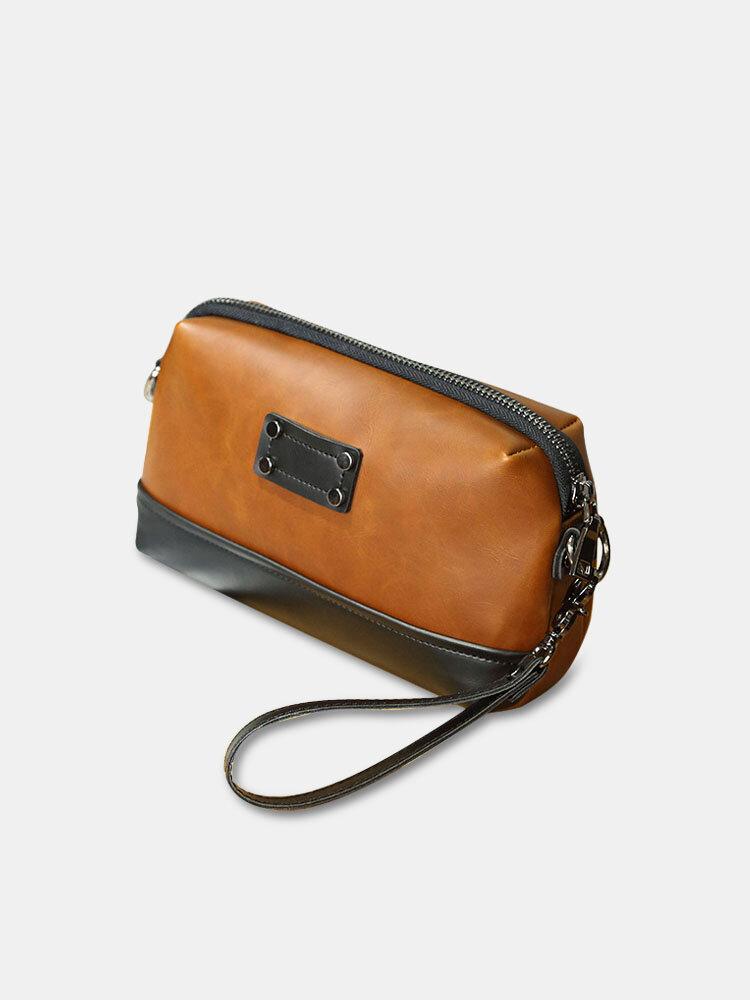 Men Vintage Brown PU Leather Patchwork 6.5 Phone Bag Clutch Bags Crossbody Bag