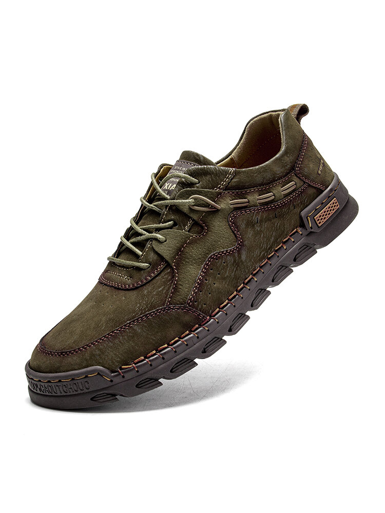 Men Comfy Hand Stitching Microfiber Leather Non Slip Soft Lace Up Casual Shoes