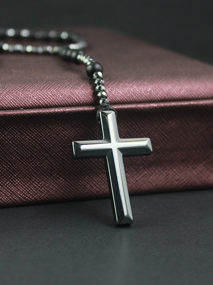 Vintage Natural Stone Men Necklace Cross Pendant Beaded Long Sweater Chain Jewelry Gift