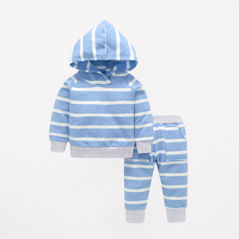 Stripe Baby Infant Kid's Hooded Tops + Pants Clothing Set For 0-3 Years