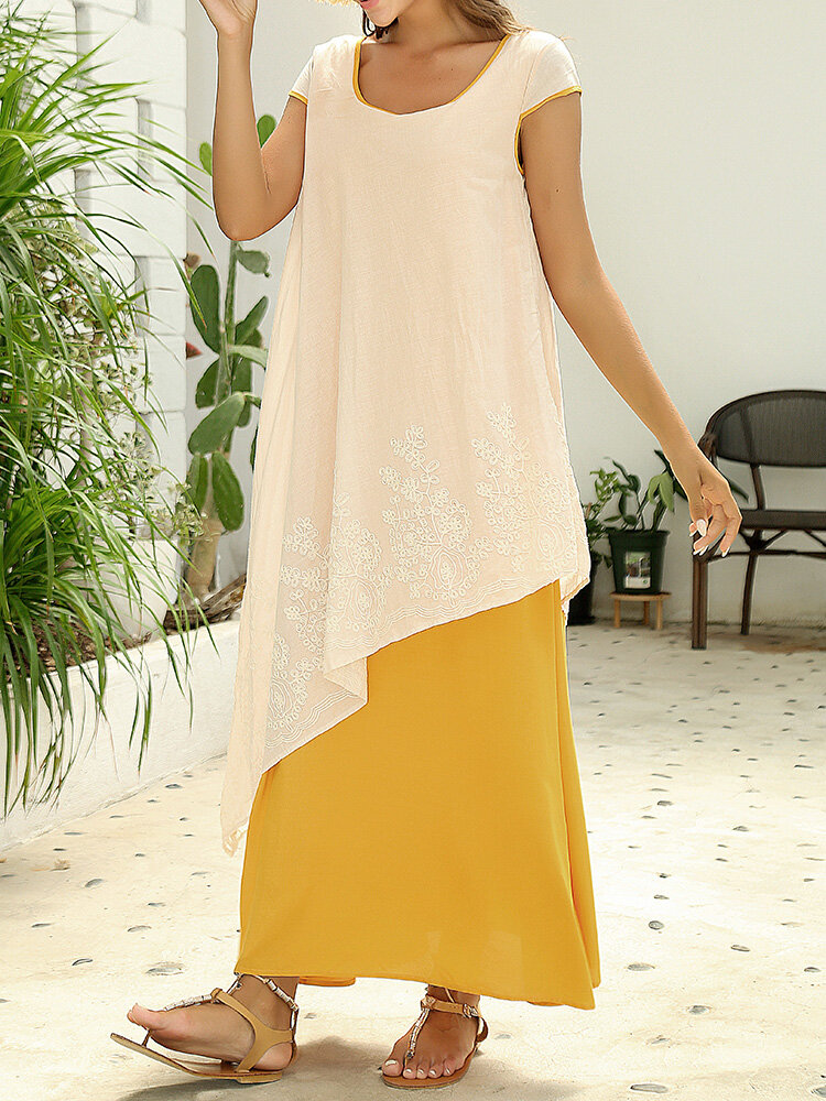 Vintage Floral Embroidered Sleeveless Two Layers Long Maxi Dresses