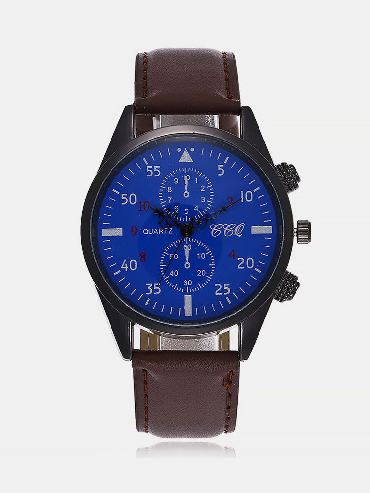 Vintage Men Watch Thin Leather Band Waterproof Digital Quartz Watch