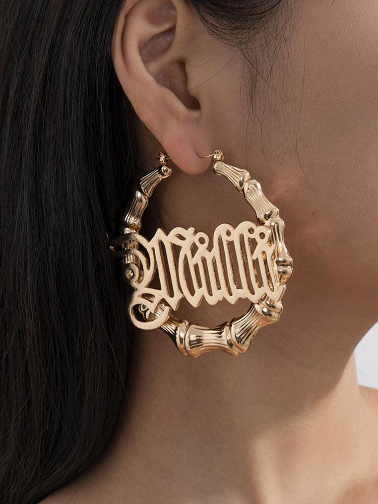 Trendy Letter Pattern Earrings Temperament Metal Bamboo Circle Earrings