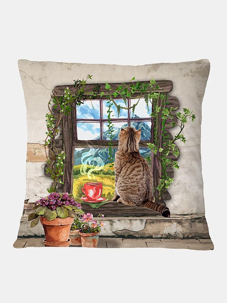 Cat And Plants Pattern Linen Cushion Cover Home Sofa Art Decor Throw Pillowcase