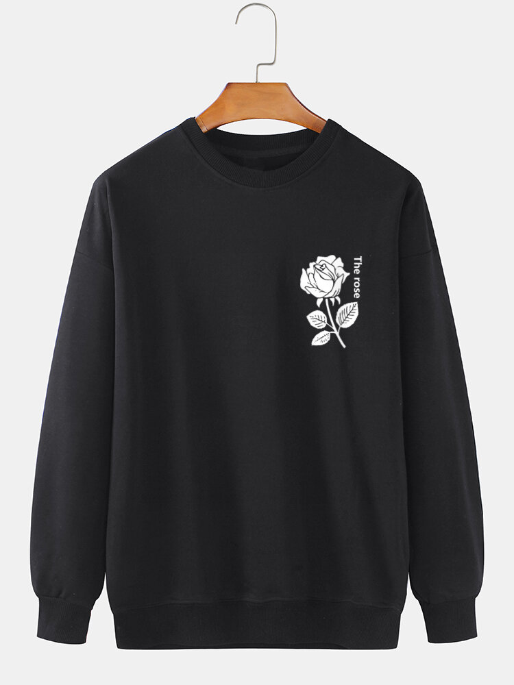 Mens Letter Rose Chest Print 100% Cotton Casual Pullover Sweatshirts
