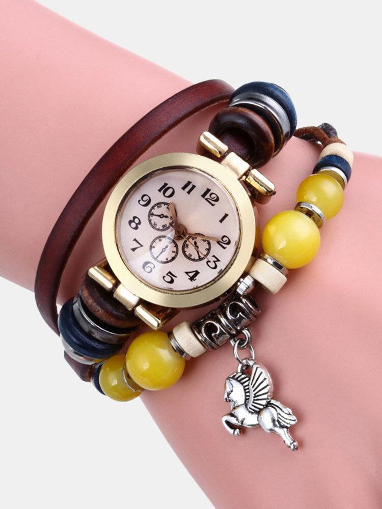 Multilayer Vintage Women Watch Decorated Pointer Four Leaf Clover Pendant Beaded Quartz Watch