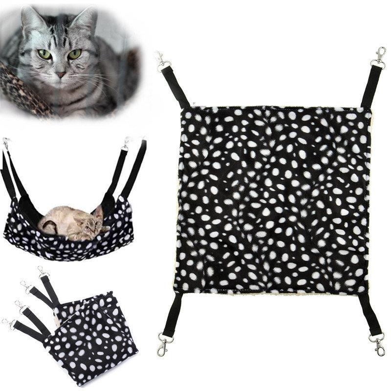 الحيوانات الأليفة القط حيوان أليف دافئ كيتي شنقا أرجوحة النمس بولكا دوت تصميم قفص السرير الوسادة