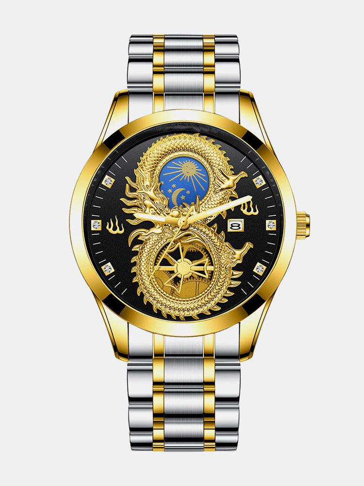 6 Colors Stainless Steel Dragon Pattern Men Business Watch Decorated Luminous Pointer Calendar Quartz Watch