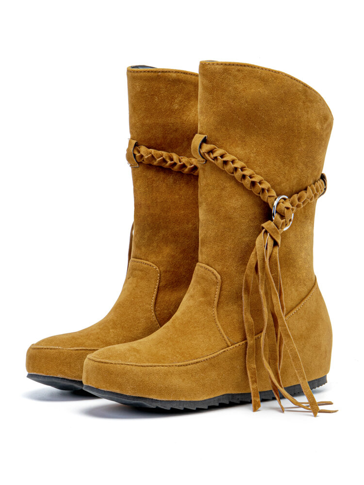 Large Size Women Braided Tassel Flat Suede Mid Calf Boots