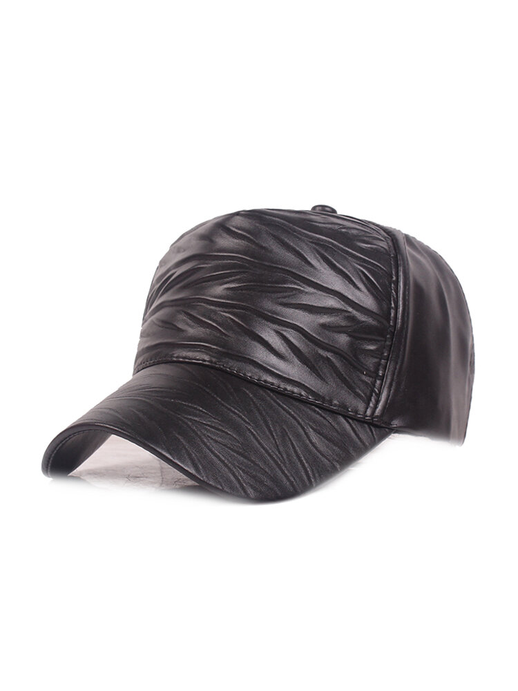 Womens Mens Adjustable Retro Style Warm Windproof PU Leather Baseball Cap Outdoor Sun Hat