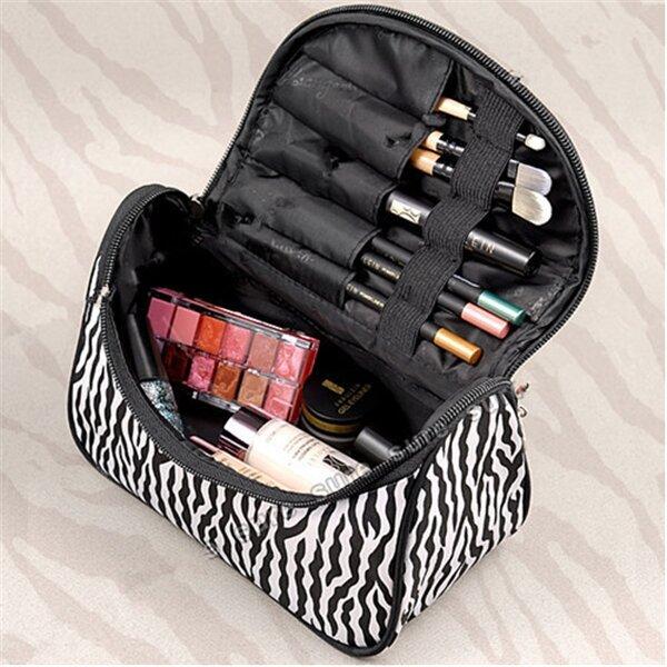 Portable Zebra Polyester Cosmetic Bag Toiletries Handbag With Mirror
