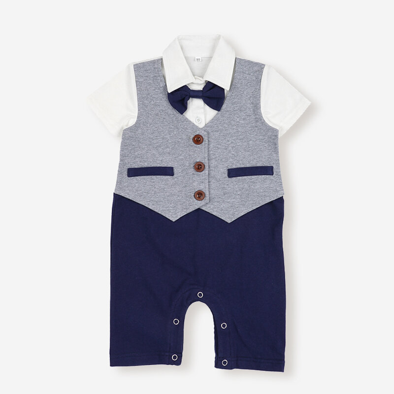 Baby Short Sleeves Summer Jumpsuit Gentleman Rompers with Bow tie For 3-24M