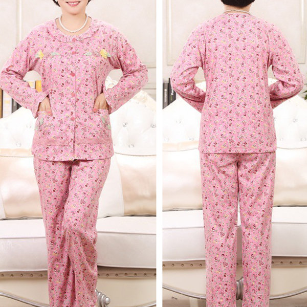 Comfy Cotton Floral Printed Long Sleeve Casual Sleepwear Sets For Women