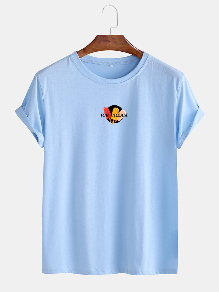 Mens Cotton Letter Graphic Print Round Neck Casual Short Sleeve T-Shirts