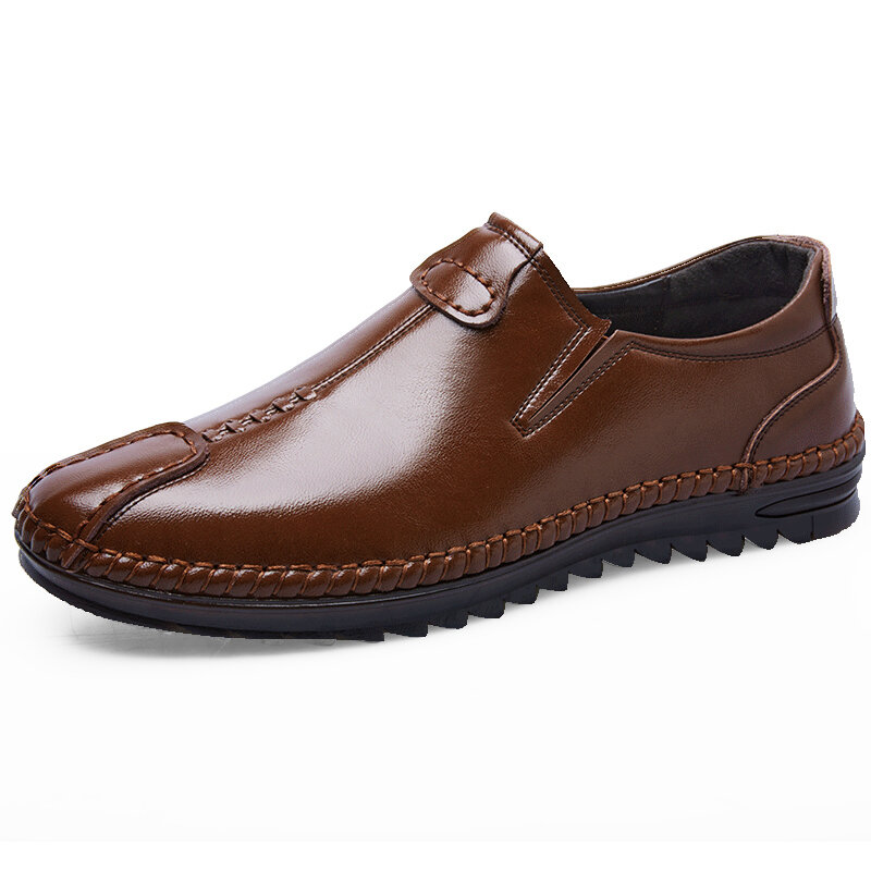 Men Hand Stitching Cap Toe Soft Driving Leather Loafers