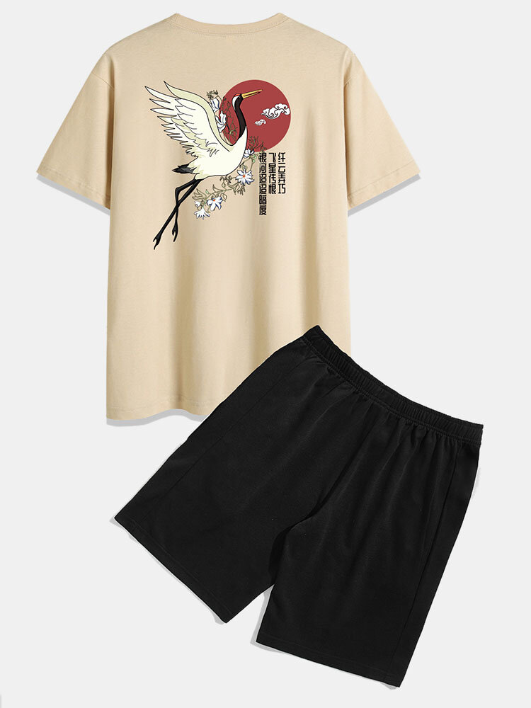 100% Cotton Mens Ethnic Style Crane Print Short Sleeve Elastic Waist Two Piece Outfits