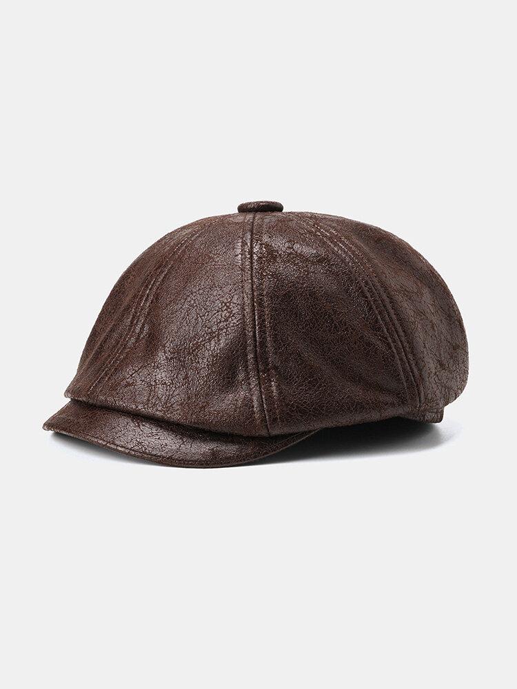 Cracked Leather Newsboy Cap Retro Beret Flat Cap