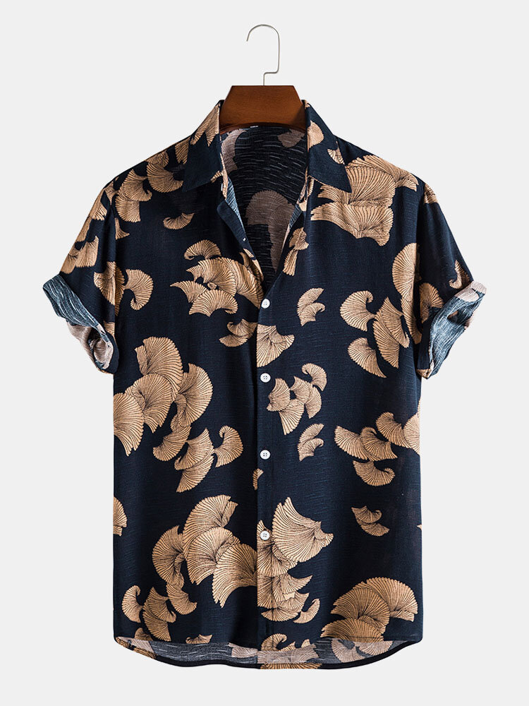 Mens Vintage Leaf Print Button Up Holiday Cotton Short Sleeve Shirts
