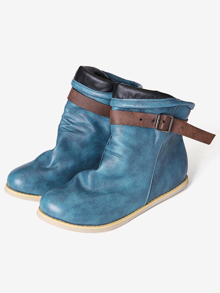 Plus Size Women Retro Buckle Belt Foldable Short Flat Boots