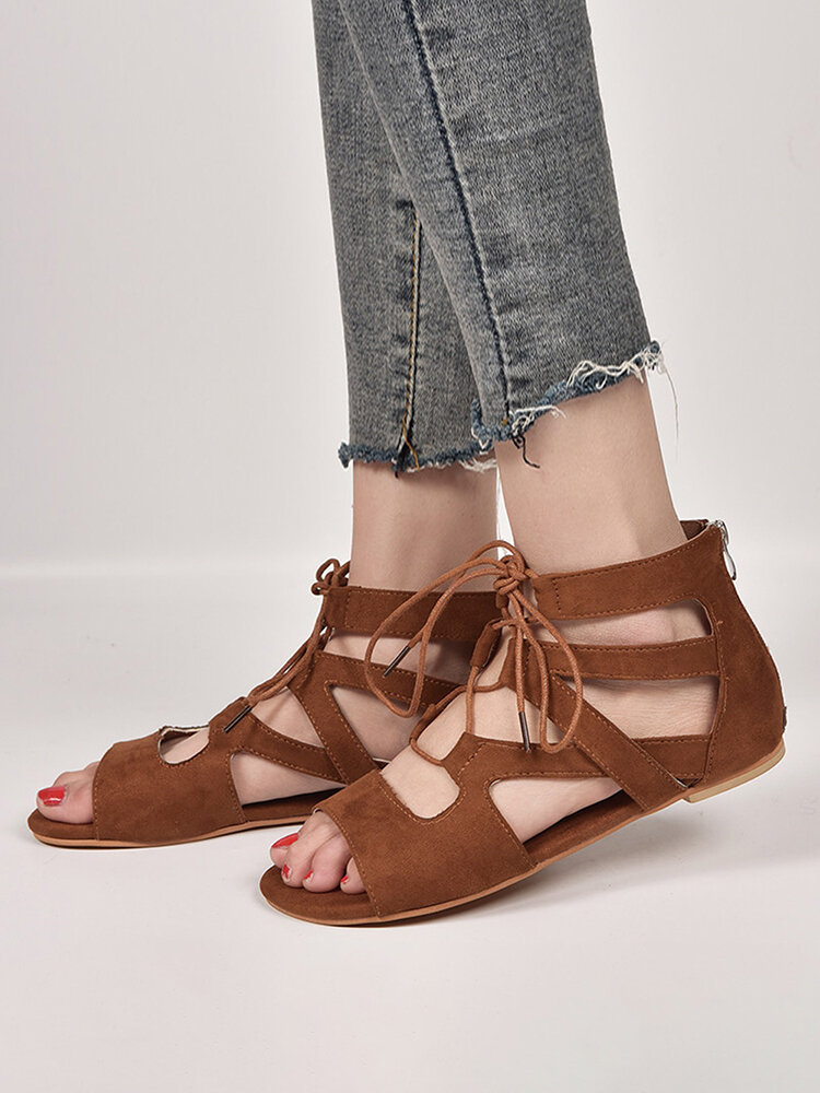 Women Large Size Solid Color Lace Up Flat Gladiator sandals