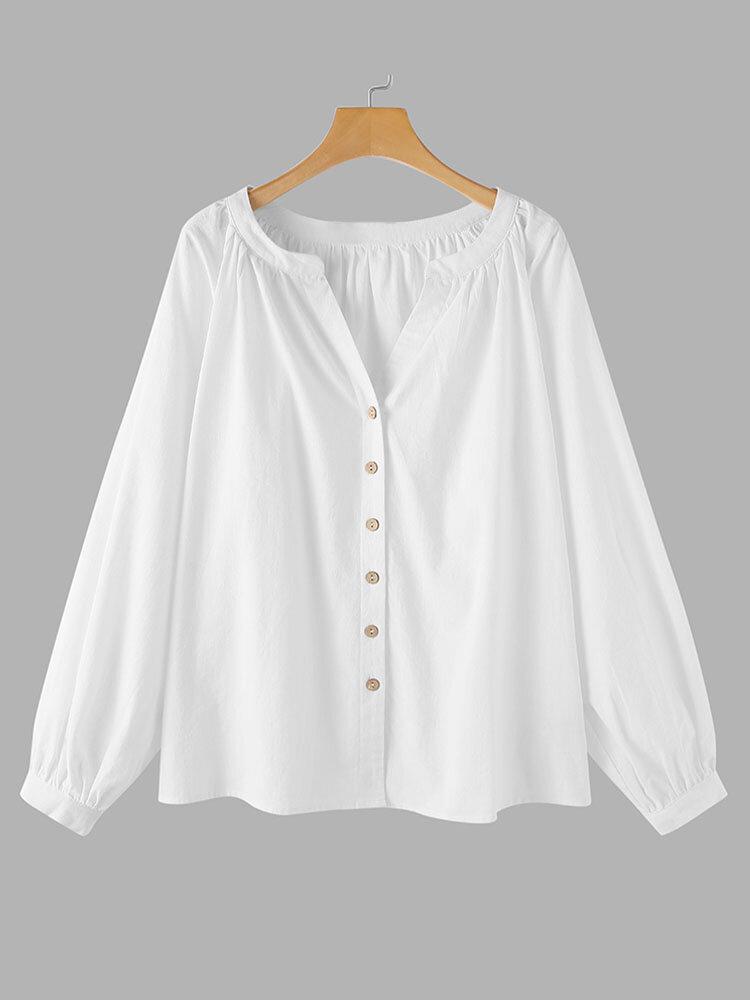 Blusa casual de manga larga con cuello en V y botones de color sólido para mujer