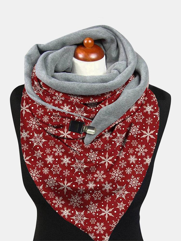 Women Lightweight Elegant Festive Christmas Snowflake Pattern Printed Thickened Warm Scarf Shawl